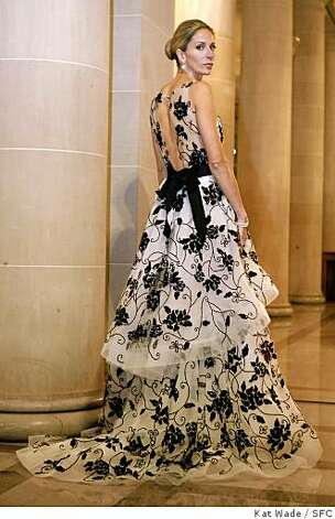 Angelique Griepp in a black and white Oscar de la Renta gown for the 2007 Opening Night Gala for the San Francisco ballet on Wednesday January 24, 2007. Photo: Kat Wade, SFC