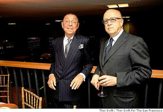 James Galanos (left) and Wilkes Bashford pose for a photograph at a dinner honoring fashion designers Galanos and Ralph Rucci at the Academy of Art University in San Francisco, Calif., Thursday April 24, 2008Thor Swift For The San Francisco Chronicle Photo: Thor Swift, Thor Swift For The San Francisco