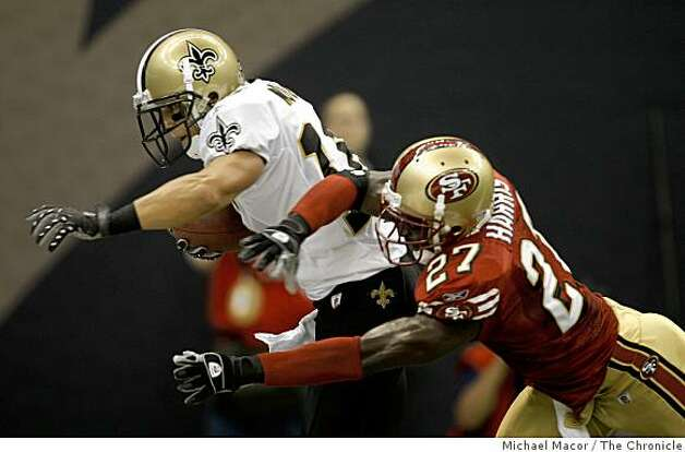 San Francisco 49ers Walt Harris (27) is beaten in the endzone by New Orleans Saints Lance Moore (16) for a touchdown in the second quarter, as the San Francisco 49ers take on the New Orleans Saints in NFL action at the New Orleans Superdomein new Orleans, La.  on Sunday Sept.28, 2008. Photo: Michael Macor, The Chronicle