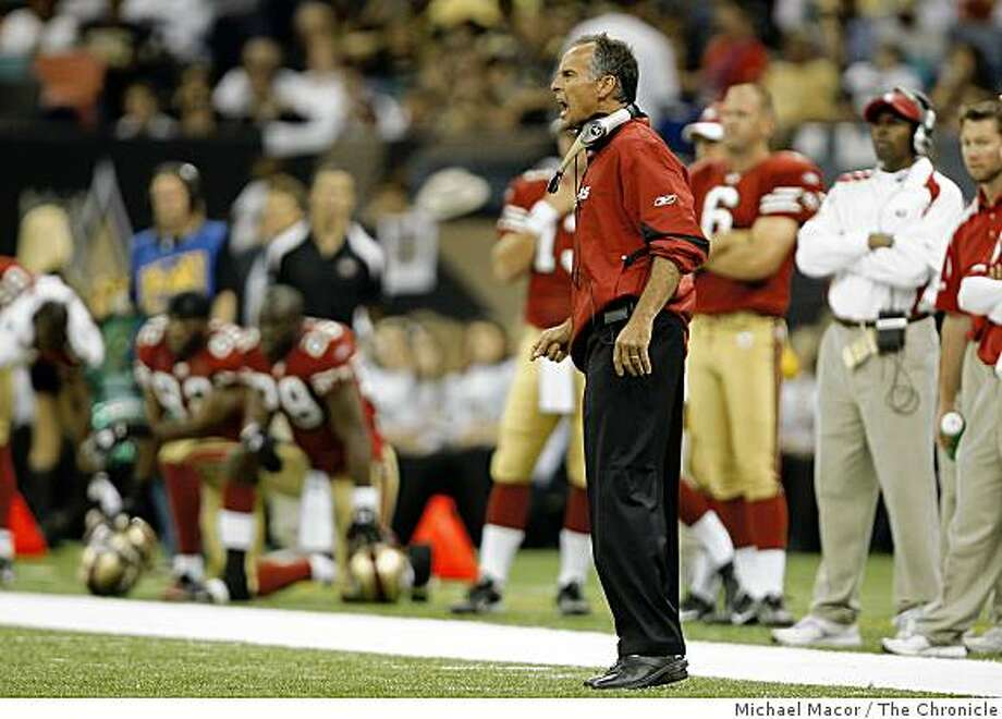 San Francisco 49ers head coach Mike Nolan shouts instructions to his team during the 3rd quarter as the San Francisco 49ers lose to the New Orleans Saints  31-17 in NFL action at the New Orleans Superdome in New Orleans, La.  on Sunday Sept. 28, 2008. Photo: Michael Macor, The Chronicle