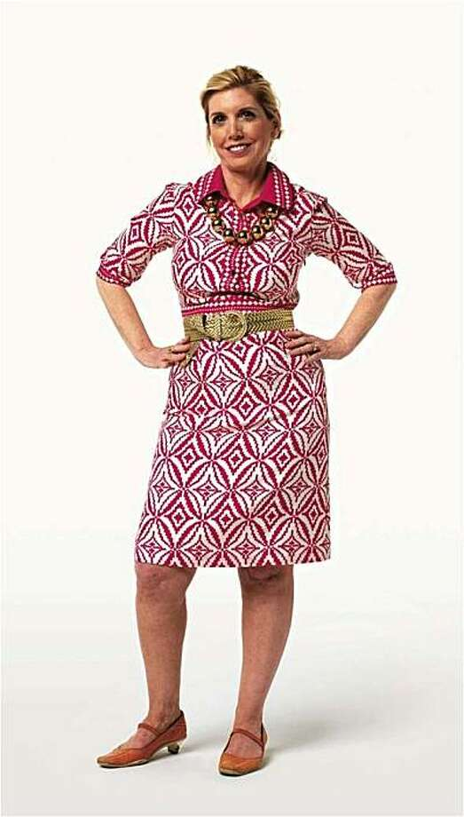"""Charla Krupp, former beauty editor and TV fashion expert, tells readers how to take 10 pounds off their frames with sleeker, slimmer clothing choices in """"How to Never Look Fat Again,"""" (Springboard, 2010). Here, we see a picture of Krupp from her book, dressed in what she calls """"high fat"""" clothing that is too busy and has too many competing accessories for her 5-foot frame. Photo: Courtesy Flying Television"""
