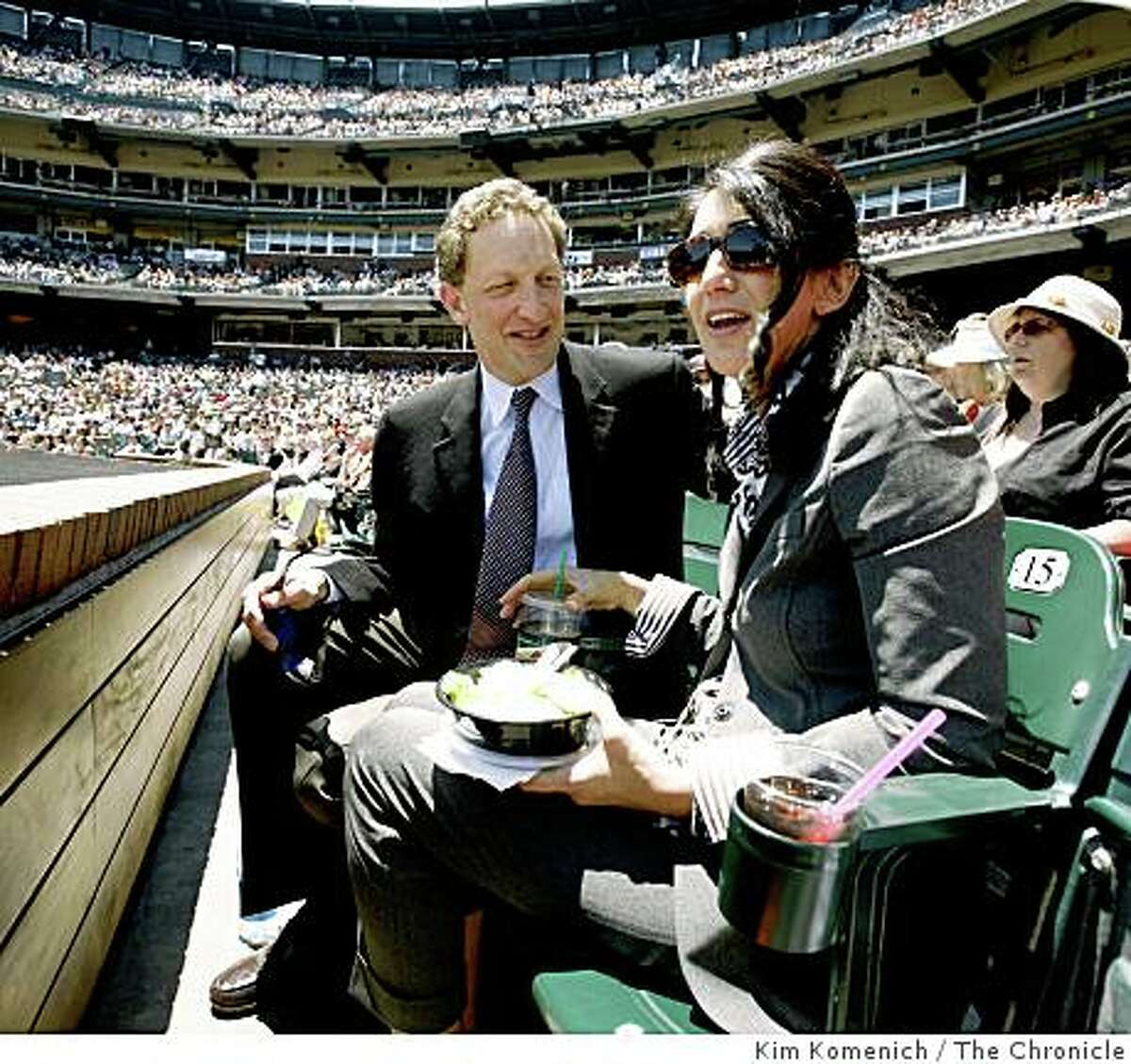 San Francisco Giants Executive Vice President and Chief Operating Officer Larry Baer and wife Pam Baer attend a game at AT&T Park in San Francisco, Calif., on Wednesday, June 4, 2008.Photo by Kim Komenich / The Chronicle