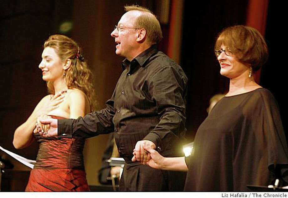 The Philharmonia Baroque Orchestra, generally devoted to 18th and 19th century music, does its first contempo piece, a world premiere commissioned by SF composer Jake Heggie. Opera star Isabel Bayrakdarian (left) and Patti LuPone (right), with conductor Nicholas McGegan. Photo: Liz Hafalia, The Chronicle