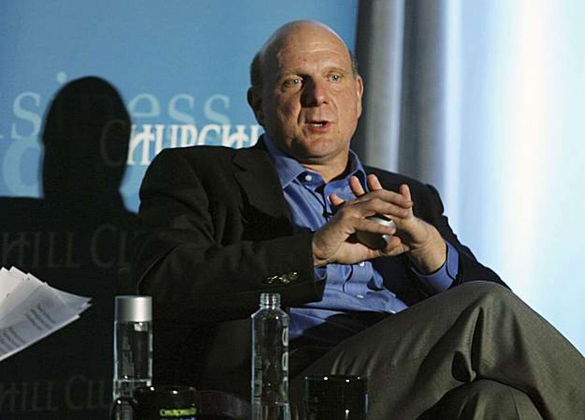 Microsoft Chief Executive Steve Ballmer speaks about Microsoft's role in the new software economy at the Churchill Club's annual dinner in Santa Clara, California, on September 25, 2008. REUTERS/Lou Dematteis/Microsoft/Handout (UNITED STATES). NO SALES. NO ARCHIVES. FOR EDITORIAL USE ONLY. NOT FOR SALE FOR MARKETING OR ADVERTISING CAMPAIGNS.