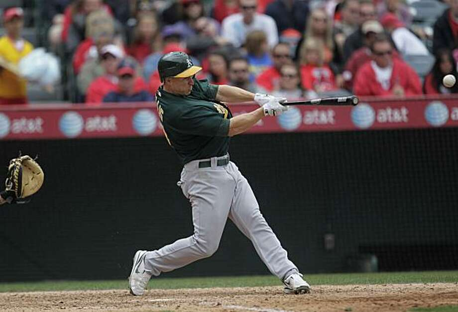 Oakland Athletics' Mark Ellis in the eighth inning of a baseball game with the Los Angeles Angels in Anaheim, Calif., Sunday, April 11, 2010. Photo: Jae C. Hong, AP