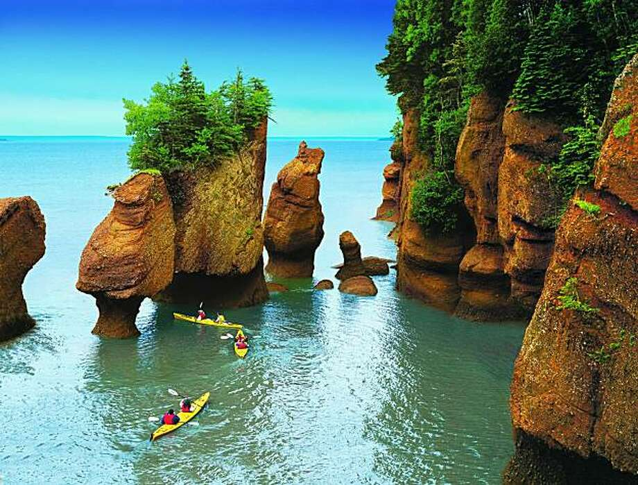 Hopewell Rocks, New Brunswick, with the tide mostly in; it gets higher. Photo: New Brunswick Tourism