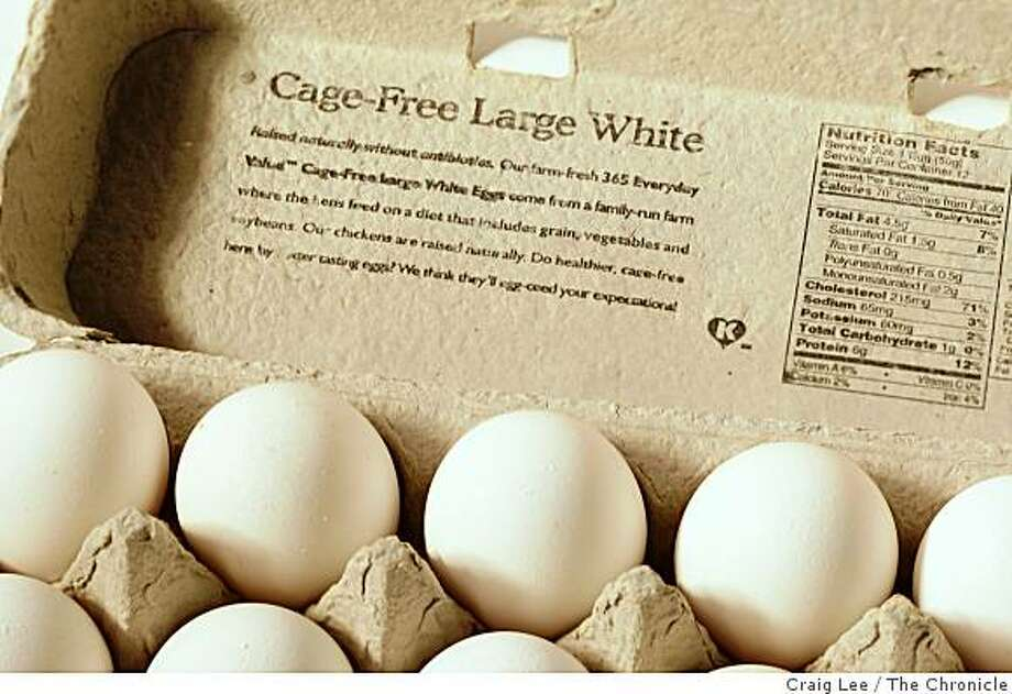 Cage-free eggs, in San Francisco, Calif., on September 25, 2008. Photo: Craig Lee, The Chronicle