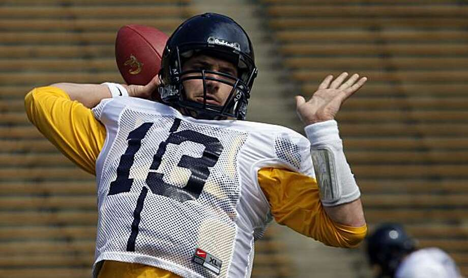 The University of California quarterback Kevin Riley took part in the teams annual spring workout Saturday April 3, 2010 at Memorial Stadium. Photo: Lance Iversen, The Chronicle