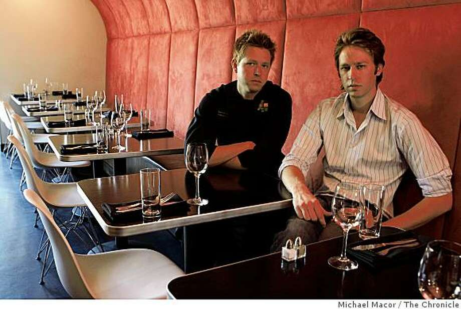 "Brothers, Brett and Nathan are the co-owners of ""Frisee""  a restaurant  they opened a year ago along Market St. in  San Francisco, Calif. At their place of business on Wednesday Sept. 24, 2008. Photo: Michael Macor, The Chronicle"