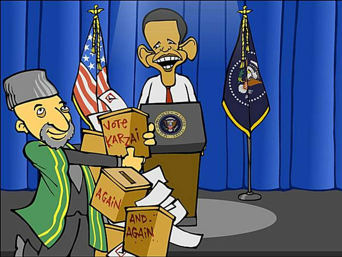 This undated cartoon released by the Pulitzer Prize Board is an example of the work of Mark Fiore, winner of the 2010 Pulitzer Prize for Editorial Cartooning, announced Monday, April 12, 2010. (AP Photo/Pulitzer Prize Board, Mark Fiore) NO SALES