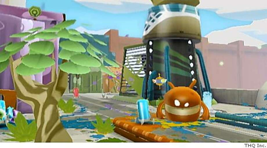 de Blob's mission is to restore color to the city by rolling over as many surfaces as he can.THQ Inc. Photo: THQ Inc.