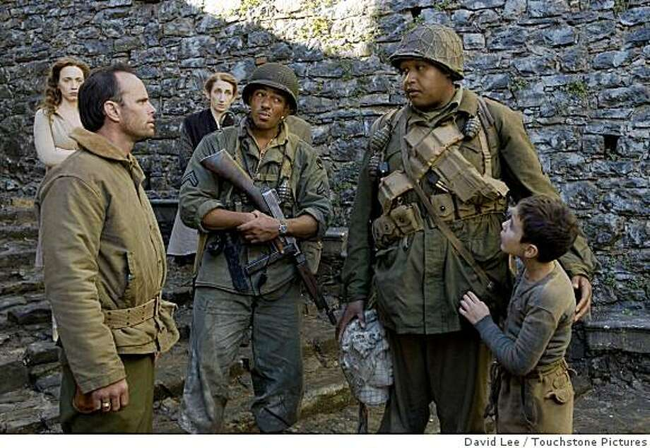 """Miracle of St. Anna"":  Left to right: Walton Goggin, LAZ ALONZO, OMAR BENSON MILLER, MATTEO SCIABORDI. (2008) ""MIRACLE AT ST. ANNA""Ph: David Lee�2008 Buffalo Soldiers In Italy, LLC - ON My Own Produzioni Cinematografiche S.R.L. Photo: David Lee, Touchstone Pictures"