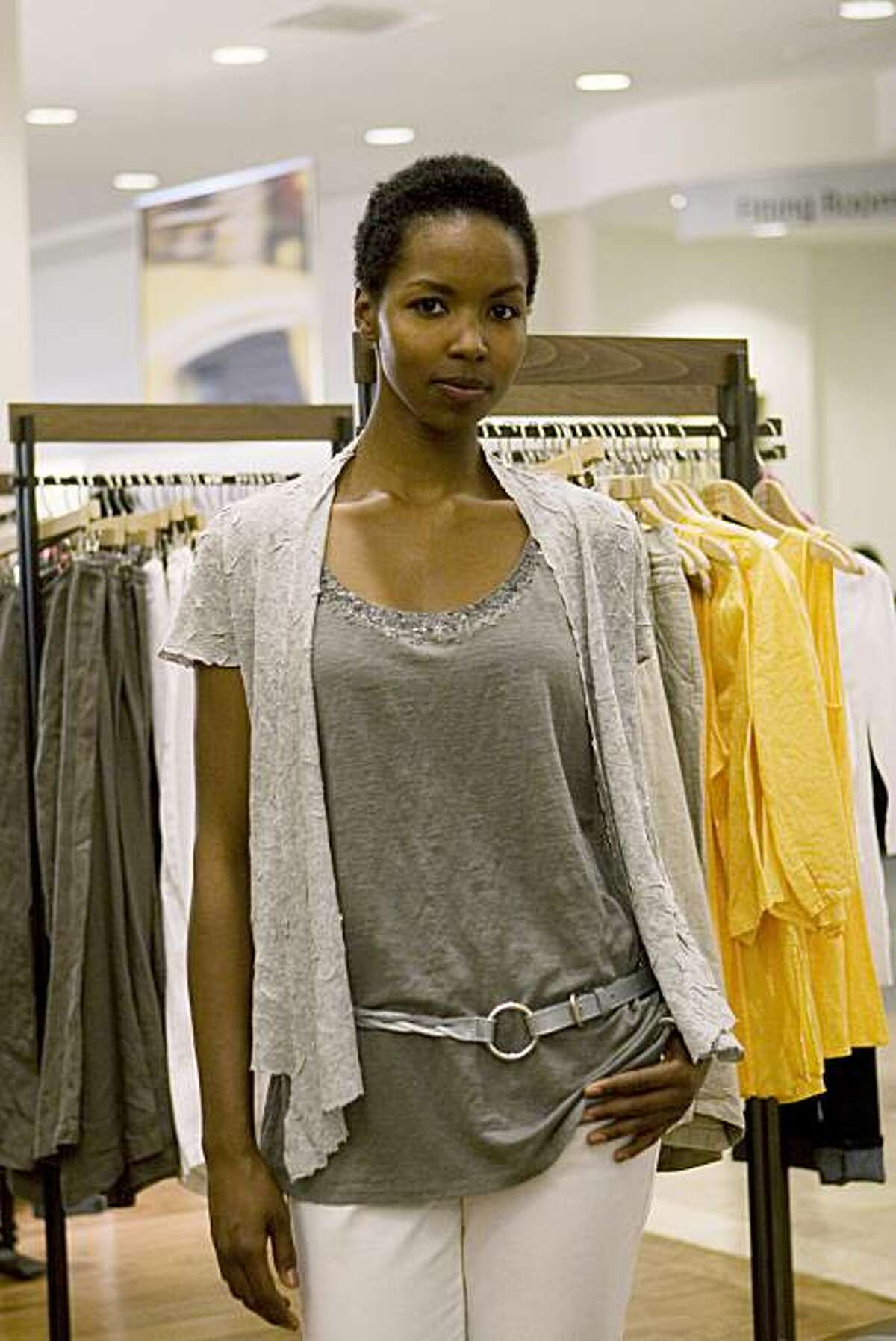 A model shows one of Eileen West's spring looks at Macy's in San Francisco March 27.