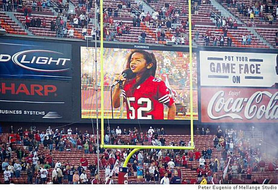 Gabi Wilson sang the national anthem at the Aug. 29 San Francisco 49ers game. The 11-year-old middle schooler from Vallejo also has performed during a Warriors game. Photo: Peter Eugenio Of Mellange Studio