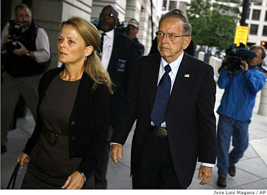 Sen. Ted Stevens, R-Alaska, and his daughter Beth Stevens, arrive at the U.S. Distrit Court in Washington  Thursday Sept. 25,  2008.(AP Photo/Jose Luis Magana) Photo: Jose Luis Magana, AP