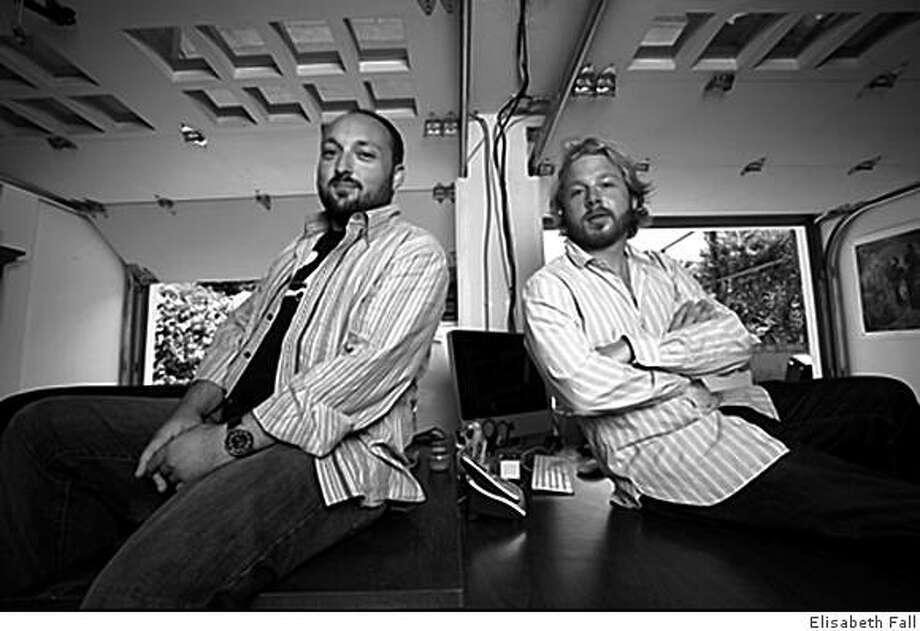 Alan D. Khalfin, left, and  Charles N. Feinn, Co-founders of MixMatchMusic.com -- photo by elisabeth fall Photo: Elisabeth Fall, Elisabeth Fall