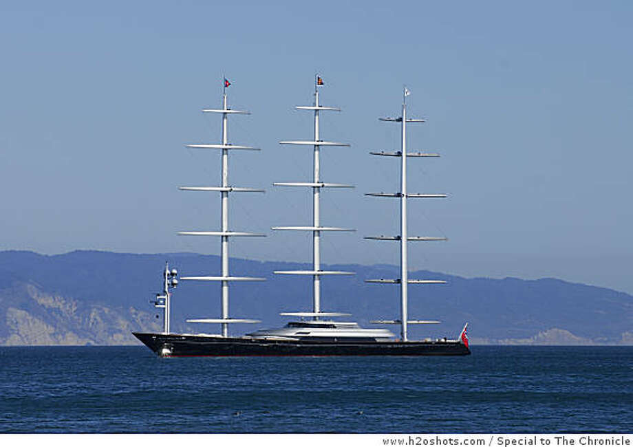 The Maltese Falcon, a 289-feet long sailing yacht owned by Tom Perkins, was anchored in Drake's Bay on Wednesday, Sept. 24, 2008.  The yacht is scheduled to sail into San Francisco Bay on Saturday. Photo: Www.h2oshots.com, Special To The Chronicle