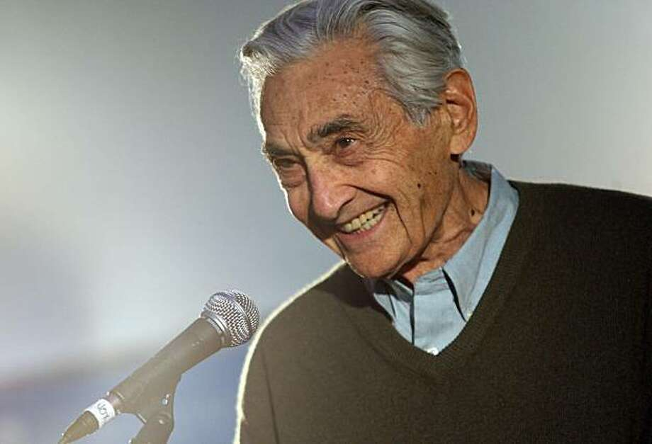 PARK CITY, UT - JANUARY 22:  Author Howard Zinn speaks during the People Speak ASCAP Music Cafe performance held during the 2009 Sundance Music Festival on January 22, 2009 in Park City, Utah.  (Photo by Bryan Bedder/Getty Images) Photo: Bryan Bedder, Getty Images