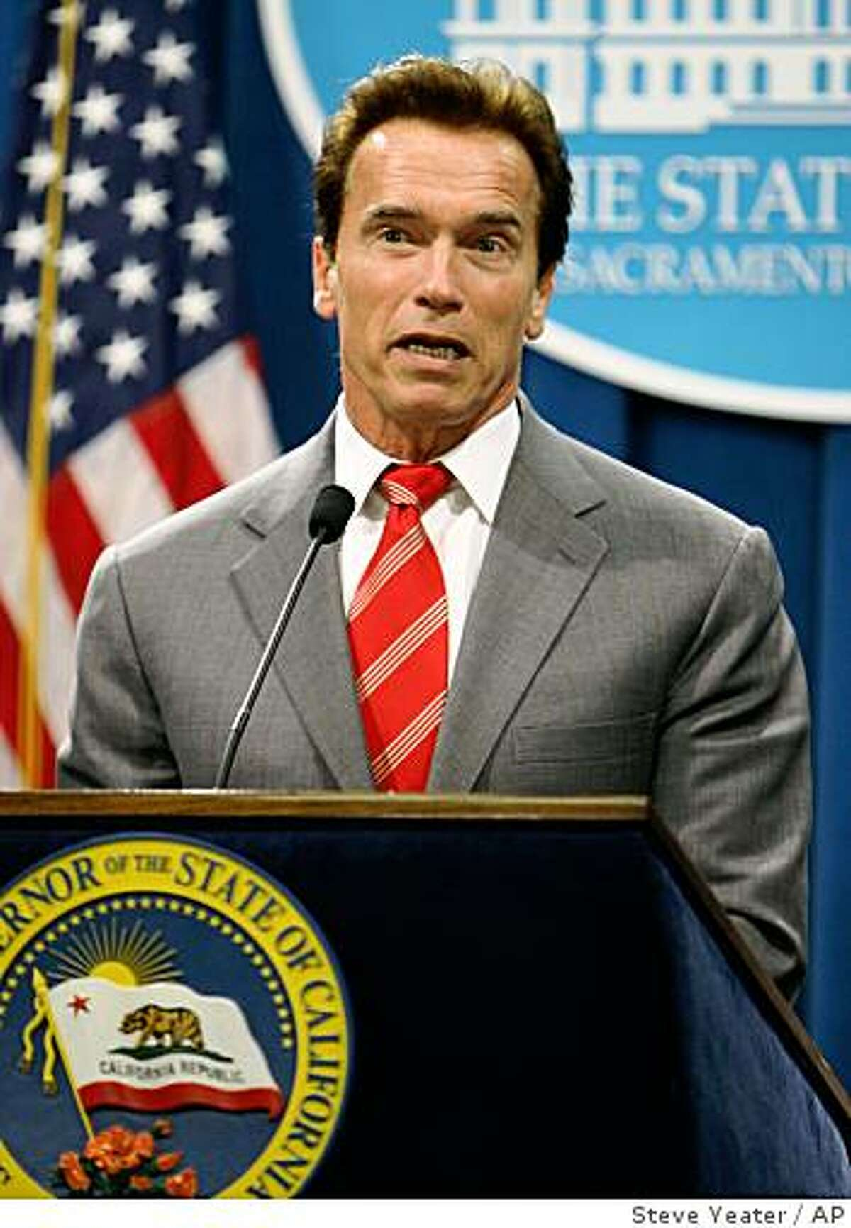 California Gov. Arnold Schwarzenegger talks about the tentative budget agreement with the legislature during a news conference at the Capitol in Sacramento, Calif., on Friday, Sept. 19, 2008.(AP Photo/Steve Yeater)