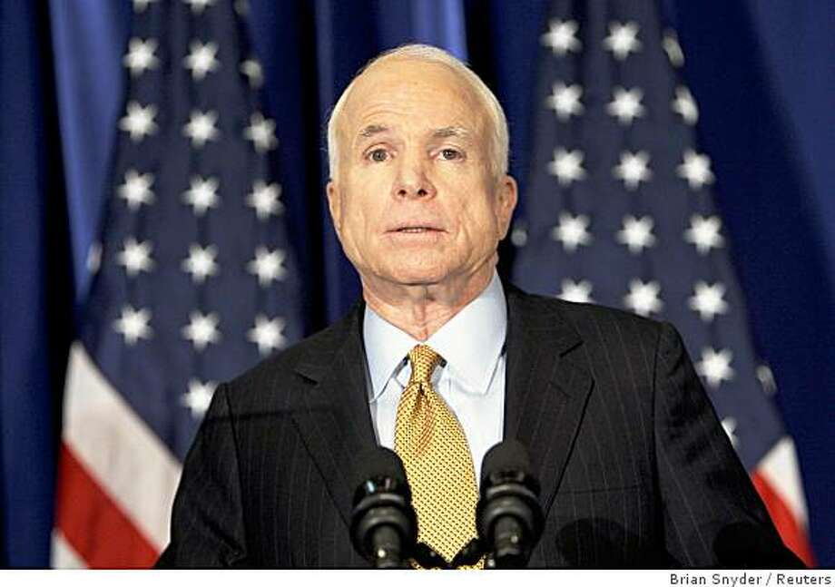 U.S. Republican presidential nominee Senator John McCain (R-AZ) makes a statement in New York September 24, 2008, announcing he is suspending his campaign because of the economic crisis in the United States.   REUTERS/Brian Snyder   (UNITED STATES) US PRESIDENTIAL ELECTION CAMPAIGN 2008 (USA) Photo: Brian Snyder, Reuters