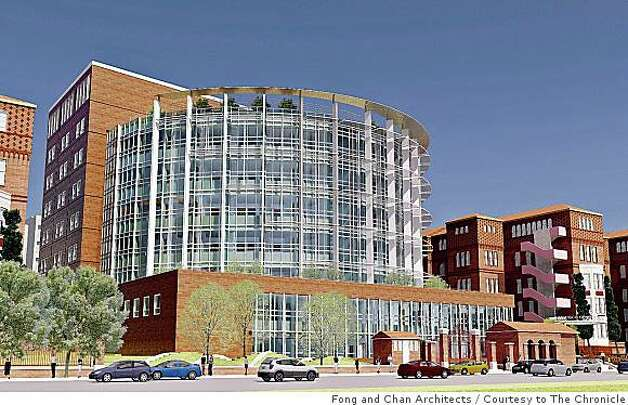This rendering shows the proposed new nine-story building that would house San Francisco General Hospital and Trauma Center. The proposed hospital would cost $887.4 million to construct and would border Potrero Avenue. It would have an acute care facility and a level one trauma center. Photo: Fong And Chan Architects, Courtesy To The Chronicle