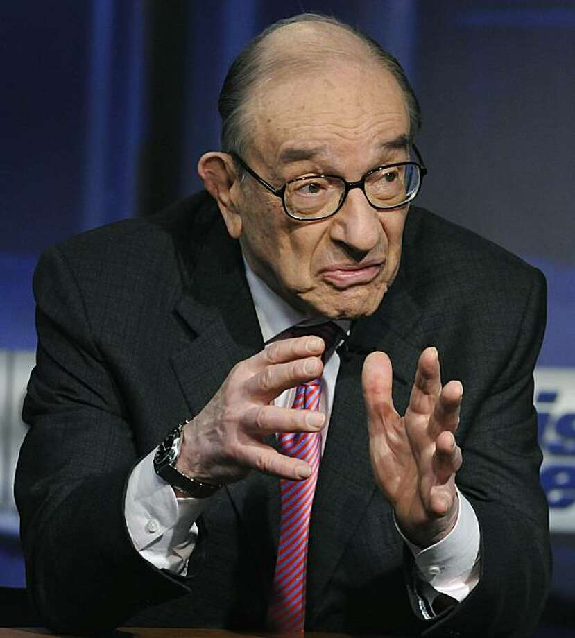 In this photo provided by ABC former Federal Reserve Chairman Alan Greenspan is interviewed on ABC's This Week in Washington Sunday, April 4, 2010.  (AP Photo/ABC, This Week) MANDATORY CREDIT; NO ARCHIVES; NO SALES Photo: Fred Watkins, AP