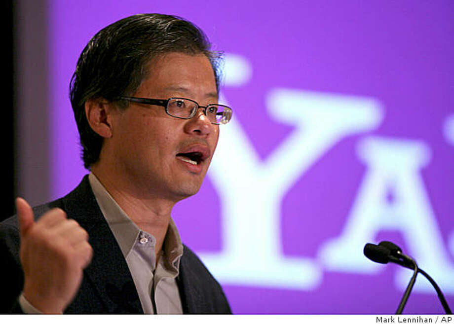 Yahoo CEO Jerry Yang introduces Apt, a much-anticipated upgrade to its online advertising system, at a news conference Wednesday, Sept. 24, 2008 in New York. (AP Photo/Mark Lennihan) Photo: Mark Lennihan, AP