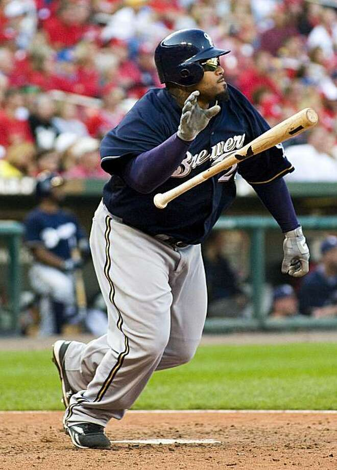 Milwaukee Brewers' Prince Fielder watches his solo home run during the ninth inning of a baseball game against the St. Louis Cardinals Sunday, Oct. 4, 2009, in St. Louis. The Brewers won 9-7. (AP Photo/Jeff Curry) Photo: Jeff Curry, AP