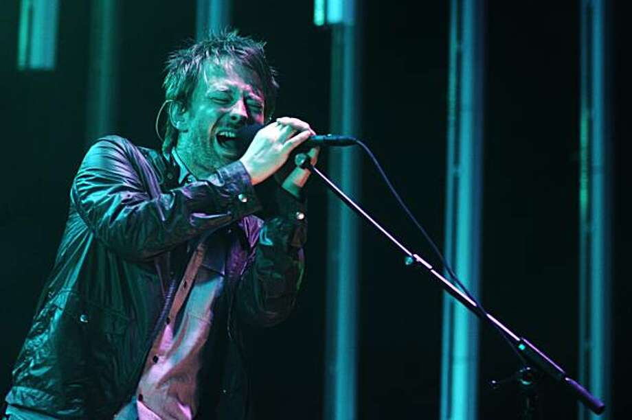 Singer Thom Yorke of Radiohead performs at the Molson Amphitheater in Toronto on Friday, Aug. 15, 2008 as they wind down their North American tour. (AP Photo/The Canadian Press, Jim Ross) Photo: Jim Ross, AP