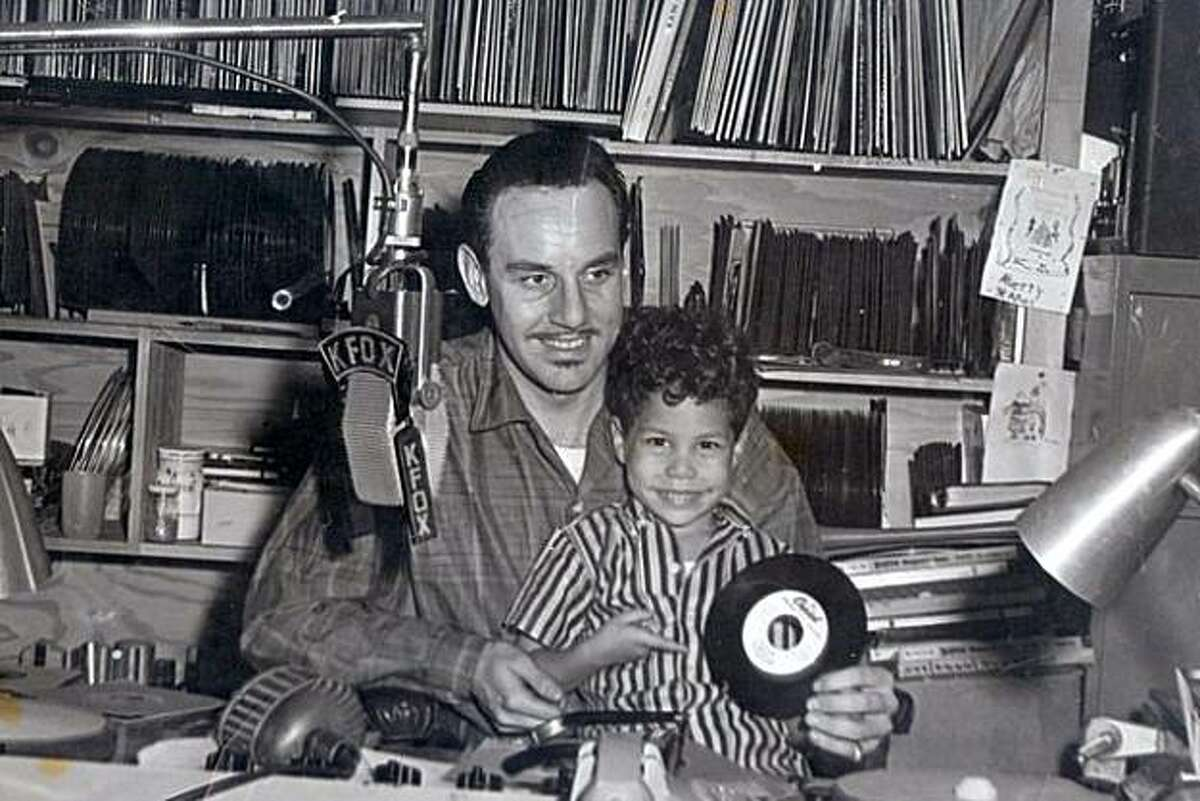 """Johnny Otis on the air in 1957 with son Shuggie. From the book """"Midnight at the Barrelhouse: The Johnny Otis Story."""""""