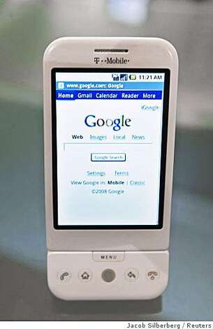 The new G1 phone running Google's Android software is displayed in New York September 23, 2008. Photo: Jacob Silberberg, Reuters