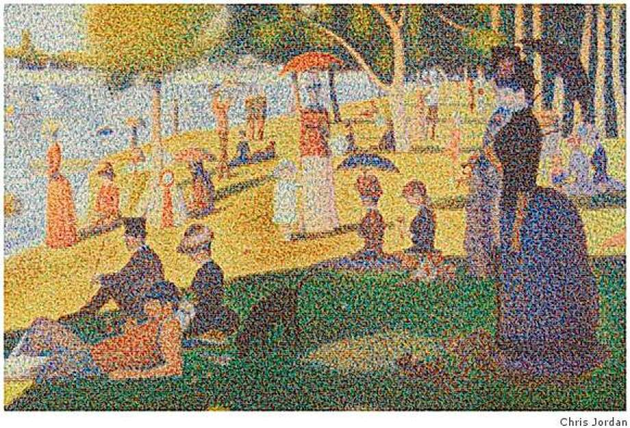 "Seurat painting, A Sunday Afternoon on the Island of La Grande Jatte, 1884-86, reproduced with aluminum cans by Chris Jordan as part of ""Running the NumbersAn American Self-Portrait "" exhibition. Photo: Chris Jordan"