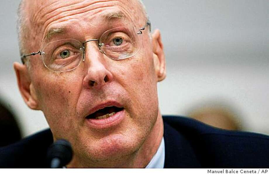 Treasury Secretary Henry Paulson testifies before the House Financial Services Committee on Capitol Hill, Wednesday, Sept. 24,2008, in Washington.   (AP Photo/Manuel Balce Ceneta) Photo: Manuel Balce Ceneta, AP