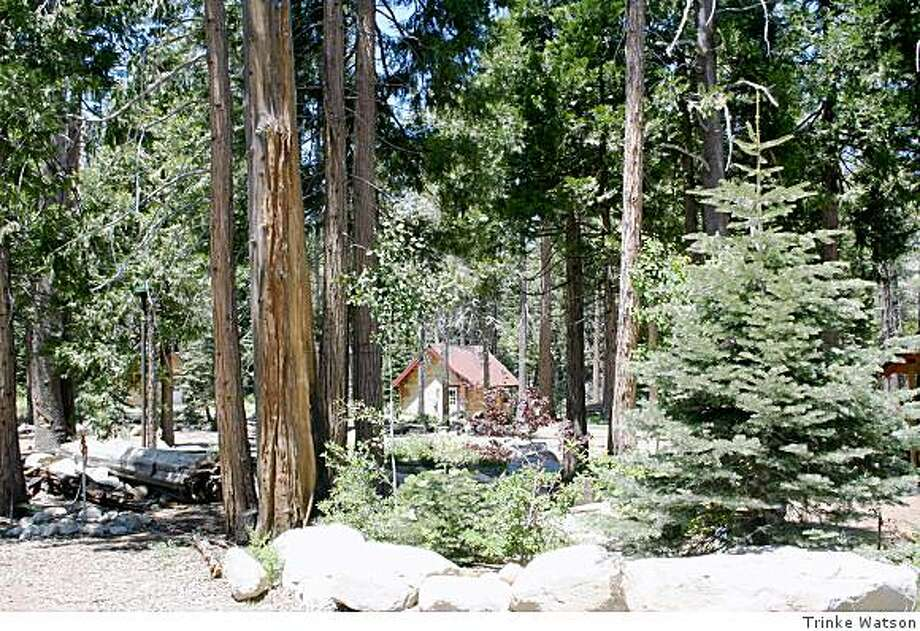 One of the ight 500-square-foot cabins at Shineyboo Creek, a 160-acrea high Sierra resort that is on the market for $3.5 million. Photo: Trinke Watson