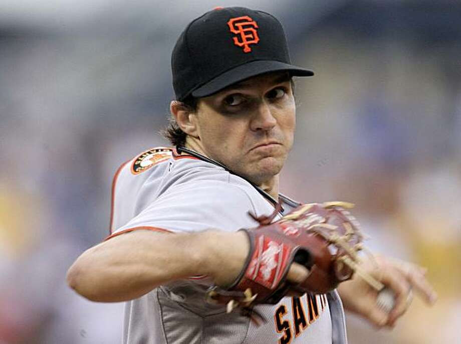 San Francisco Giants  pitcher Barry Zito throws in the first inning of a baseball game against the Pittsburgh Pirates in Pittsburgh Saturday, July 18, 2009.  (AP Photo/Gene J. Puskar) Photo: Gene J. Puskar, AP