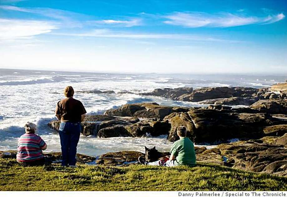 Watching the waves and taking in the views from the 804 Trail, a historic path in the town of Yachats. Photo: Danny Palmerlee, Special To The Chronicle
