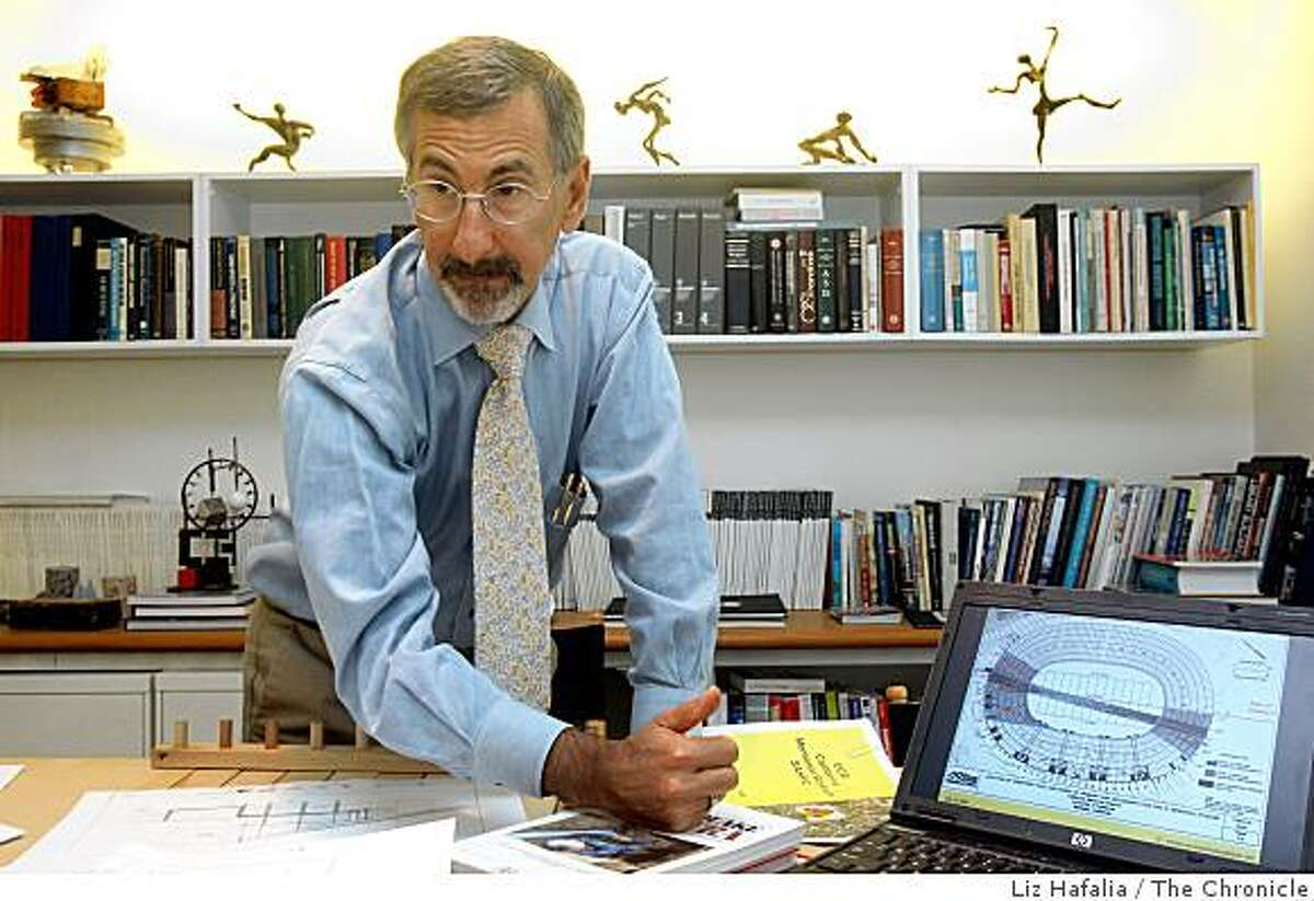 S.F. engineer David Friedman shows his retrofit plan to earthquake-proof UC Berkeley stadium in his office in San Francisco, Calif., on Wednesday, September 17, 2008. On the powerbook is a drawing showing the location of the creep and fault rupture going through UC Berkeley Memorial stadium and surrounding area.