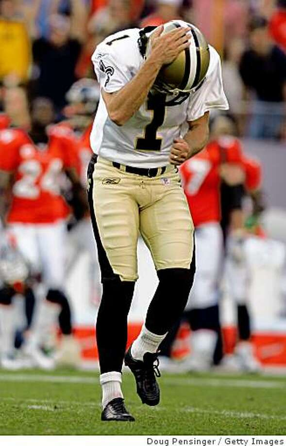 DENVER - SEPTEMBER 21: Place kicker Martin Gramatica #1 of the New Orleans Saints reacts after missing a field goal attempt with 2:00 minutes remaining in the game against the Denver Broncos during NFL action at Invesco Field at Mile High on September 21, 2008 in Denver, Colorado. (Photo by Doug Pensinger/Getty Images) Photo: Getty Images
