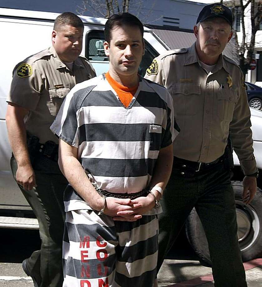 Aaron Vargas is led into the Mendocino County Courthouse by sheriffs deputies before Vargas plead no contest to voluntary manslaughter charges in Ukiah, Calif., on Tuesday, April 6, 2010. Vargas is accused of killing Darrell McNeill who molested Vargas from the time he was 11-years-old. Photo: Paul Chinn, The Chronicle