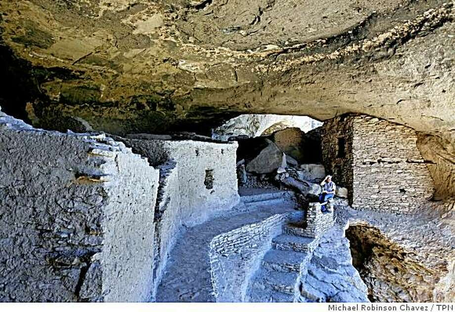 The ancient Gila Cliff Dwellings lie within the New Mexico wilderness area. The national monument was established in 1907. Illustrates TRAVEL-GILA (category t) by Hugo Martin (c) 2008, Los Angeles Times. Moved Thursday, Sept. 18, 2008. (MUST CREDIT: Los Angeles Times photo by Michael Robinson Chavez.) Photo: Michael Robinson Chavez, TPN