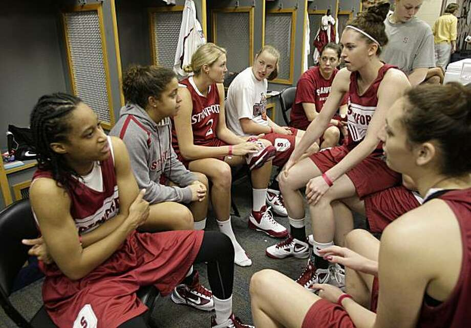 Stanford players gather in the locker room before a practice at the NCAA Women's Final Four college basketball tournament Monday, April 5, 2010, in San Antonio, Texas. Stanford plays Connecticut for the national championship Tuesday night. Photo: Sue Ogrocki, AP