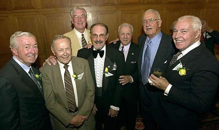 Some of the players and coaches who showed up for the USF football team reunion at the Westin St. Francis hotel in San Francisco. Bill Henneberry, Brad Lynn, Bob St. Clair, Vince Tringali, Joe Scuders, Dick Stanfel and Ed Dawson. Photo: Kurt Rogers, The Chronicle