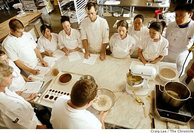 Brian Wood (bottom) teaching a class how to make a chocolate mousse cake at the San Francisco Baking Institute in South San Francisco, Calif., on September 9, 2008 Photo: Craig Lee, The Chronicle