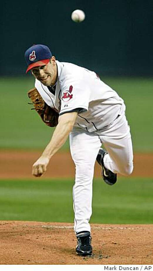 Cleveland Indians' Cliff Lee pitches against the Kansas City Royals in the first inning of a baseball game, Friday, Sept. 12, 2008, in Cleveland. (AP Photo/Mark Duncan) Photo: Mark Duncan, AP