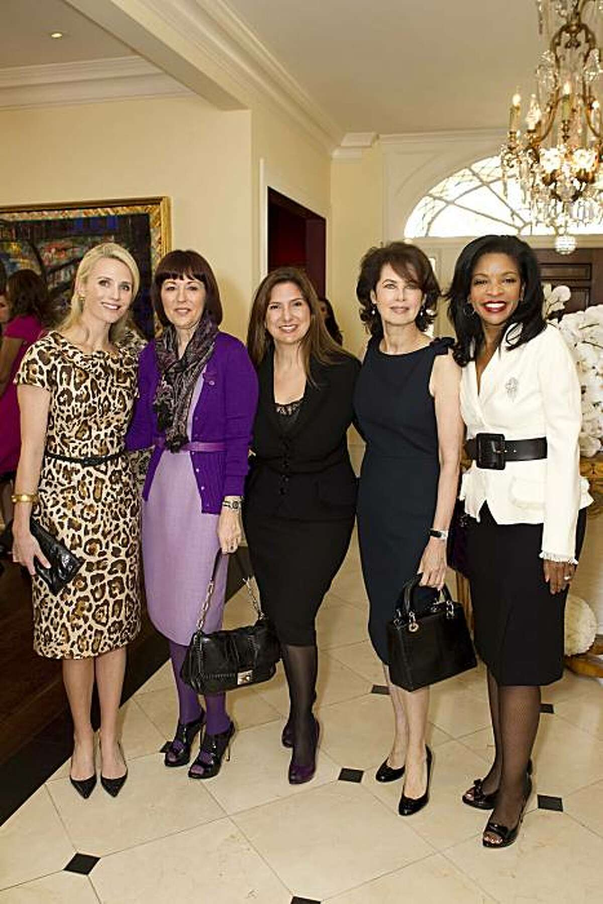 Select pieces from the archives of Christian Dior in Paris were shipped and put on display at the home of Pamela Joyner at a luncheon to introduce stylish San Francisco women to Dior's history, and its spring 2010 collection of clothing. From left to right: Jennifer Siebel Newsom, Pamela Baxter, Regina Kulik Scully, Dayle Haddon, Pamela Joyner Jennifer Siebel Newsom, Pamela Baxter, Regina Kulik Scully, Dayle Haddon, Pamela Joyner
