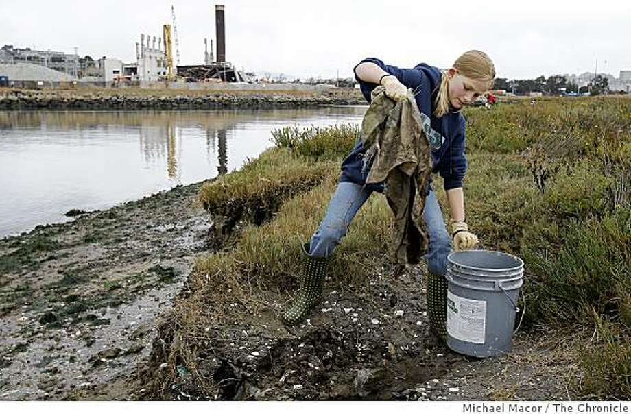 Jessie Collins, 11 of San Francisco collects debris alongthe marshes of Heron's Head Park in the Bayview district of San Francisco, Calif. on Saturday Sept. 20, 2008, during the 2008 Beach Cleanup day throughout the State of California. Photo: Michael Macor, The Chronicle
