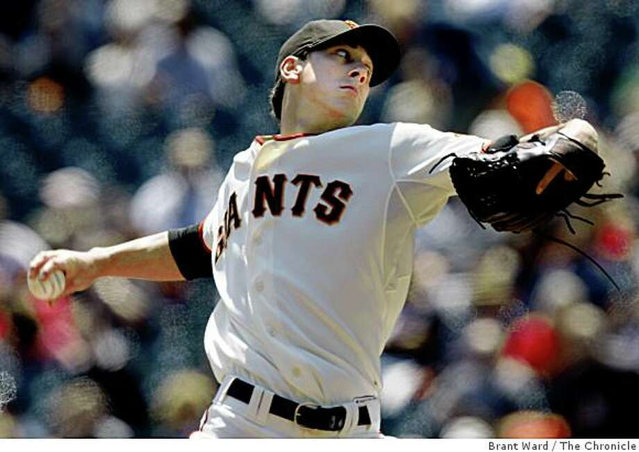 Tim Lincecum completed eight innings for the victory Wednesday. The Giants defeated the Braves 3-2 at AT&T Park Wednesday, August 6, 2008. Photo: Brant Ward, The Chronicle