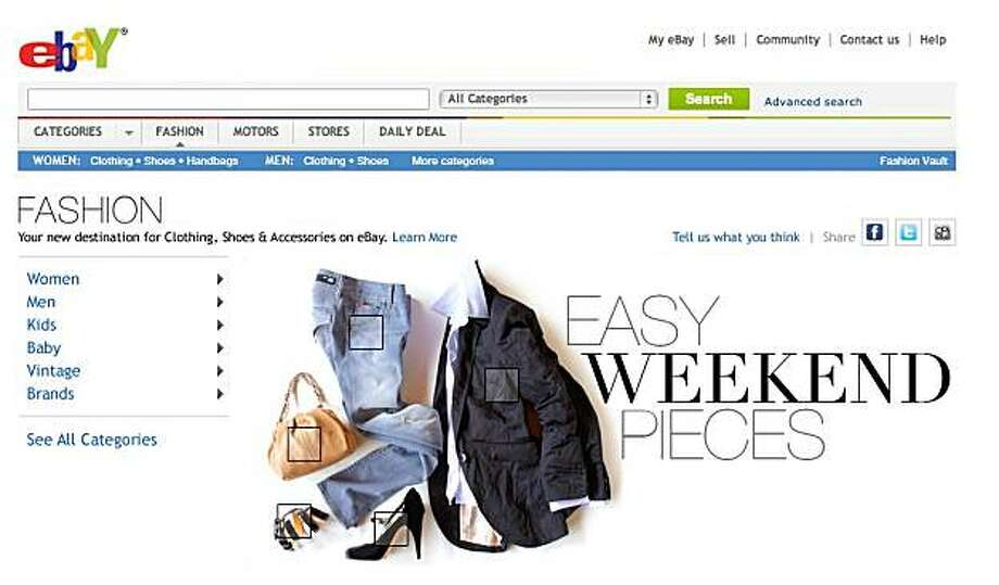 In this undated screen shot provided by eBay Inc., the new FASHION destination for clothing, shoes and accessories, is shown. Photo: AP
