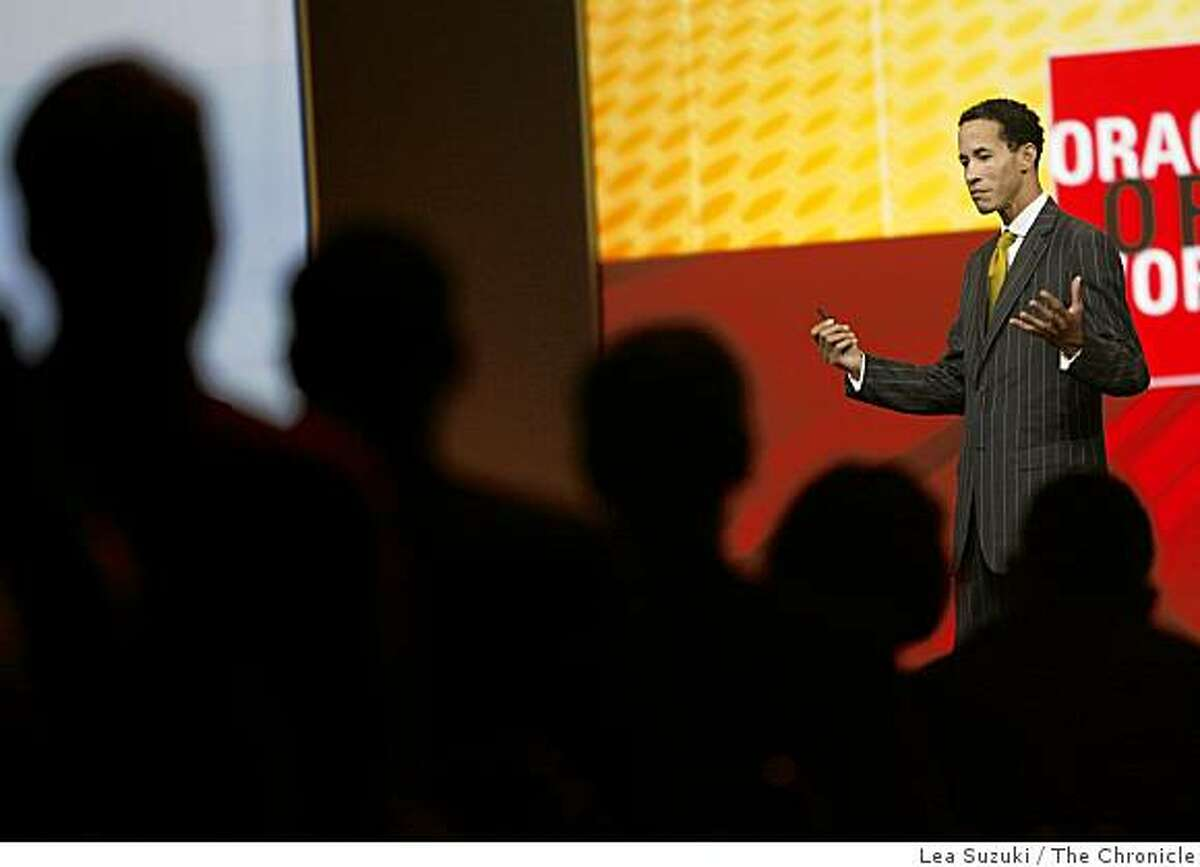 Charles Phillips, president of Oracle, delivers a keynote for OracleWorld in Moscone North, Hall D on Monday, September 22, 2008 in San Francisco, Calif.