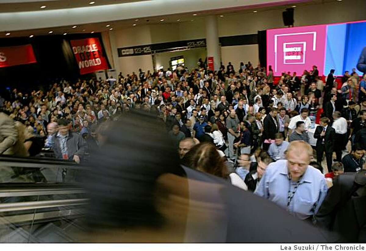 People file out of Moscone North, Hall D at OracleWorld on Monday, September 22, 2008 in San Francisco, Calif.